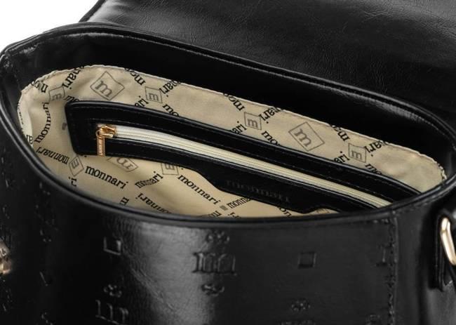 Listonoszka czarna tłoczony wzór Monnari BAG2410-020