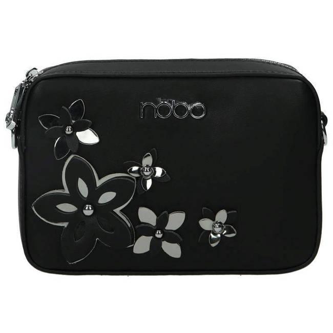 Listonoszka damska czarna z kwiatami Nobo NBAG-E1600-C020