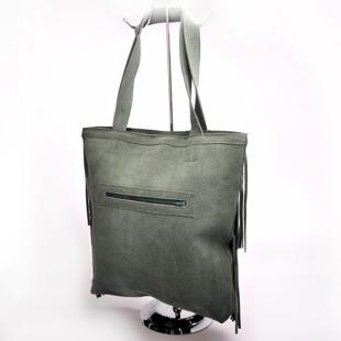 MADE IN ITALY Spalla 227 włoska torebka skórzana z frędzlami zielona