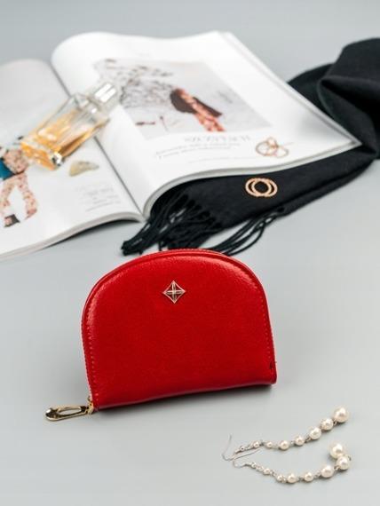 Mała portmonetka damska na zamek czerwona Milano Design