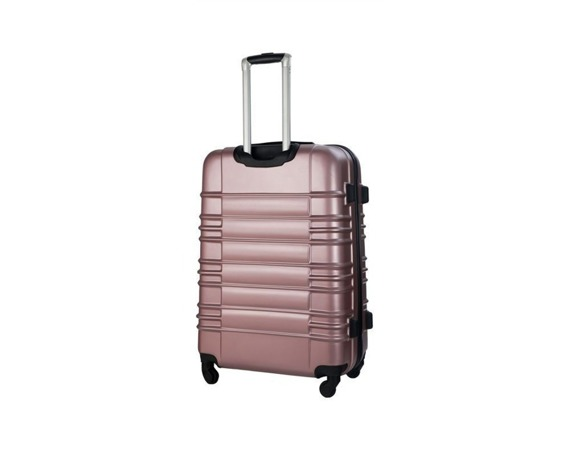 Mała walizka kabinowa ABS 55x37x24cm STL838 metaliczna różowa