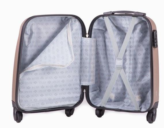 Mała walizka podróżna na kółkach (bagaż podręczny) SOLIER STL310 XS ABS champagne