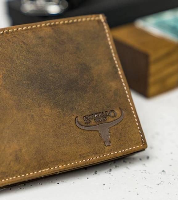 Męski portfel j. brązowy Buffalo Wild RM-01-HBW TAN