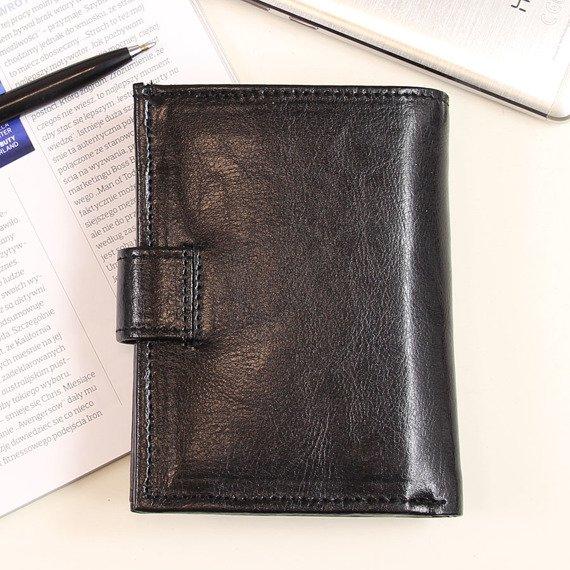 P150 czarny skórzany portfel męski