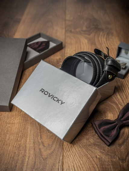 Pasek męski Rovicky PSN-01-ARS 110cm czarny