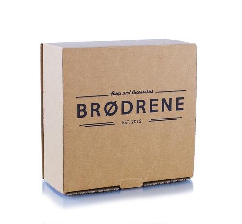 Pasek męski do spodni parciany Brodrene P08G granatowo-brązowy