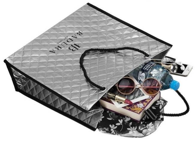 Pikowana torba na zakupy srebrna Badura BA033 SILVER