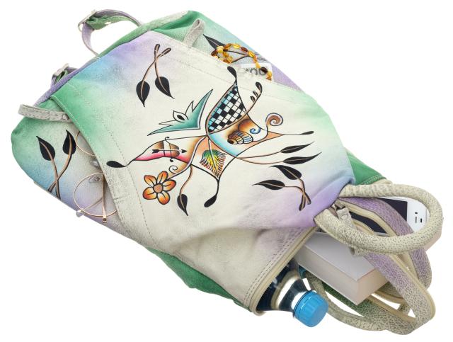 Plecak damski beżowy skórzany ręcznie malowany LB-1902-ART-09 BEIGE