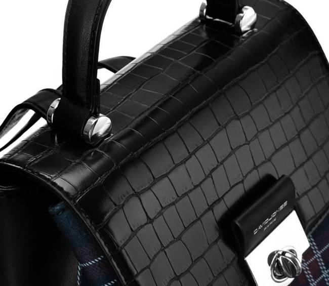 Plecak damski czarny krata David Jones  6630-2 BLACK