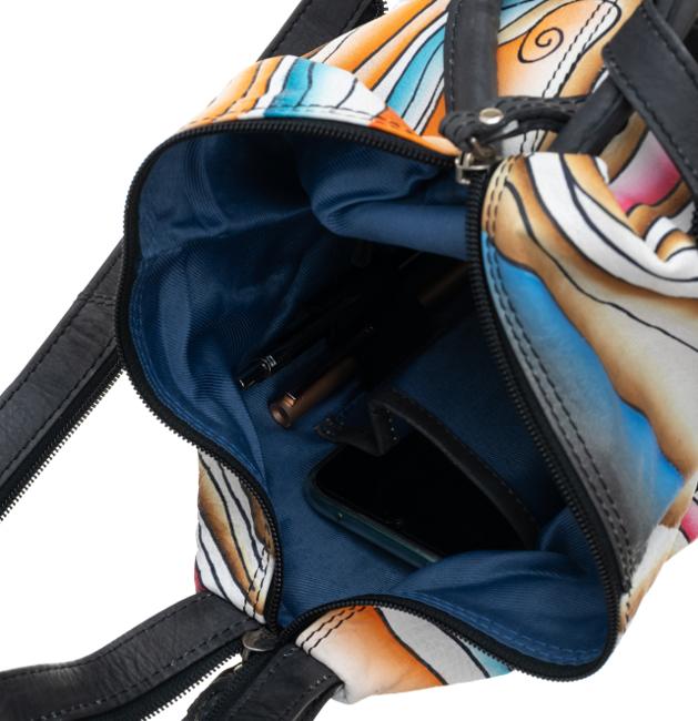 Plecak damski czarny skórzany ręcznie malowany LB-1902-ART-07 BLACK