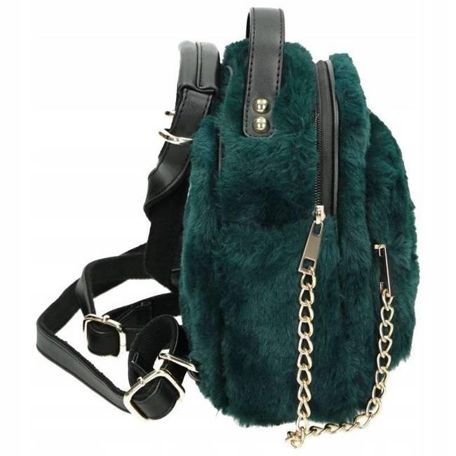 Plecak damski futrzany torebka 2w1 NOBO zielony