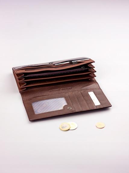Pojemny portfel damski brązowy PX27-2