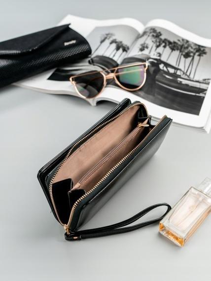 Pojemny portfel damski na zamek czarny Milano Design