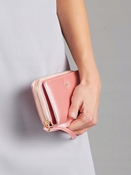 Pojemny portfel damski na zamek różowy Milano Design