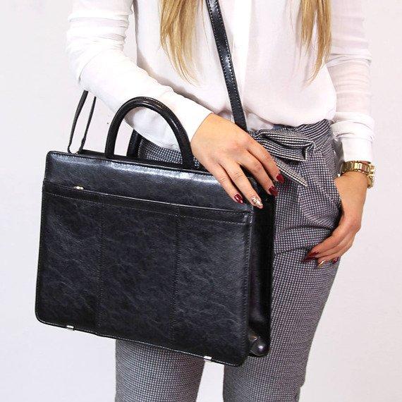 Polska skórzana teczka aktówka damska elegancka biznesowa czarna G2