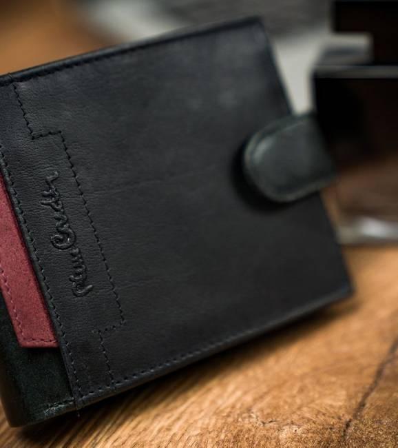 Portfel czarny z czerwoną wstawką Pierre Cardin 324A VO02
