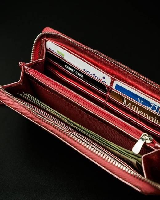 Portfel damski metaliczny czerwony Pierre Andreus N511-METALIC RED