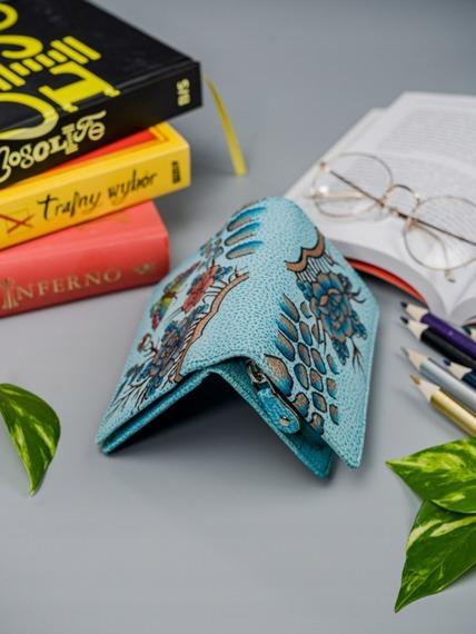 Portfel damski niebieski ręcznie malowany MALEDIVES  M-N109-ART-03_4499 BLUE