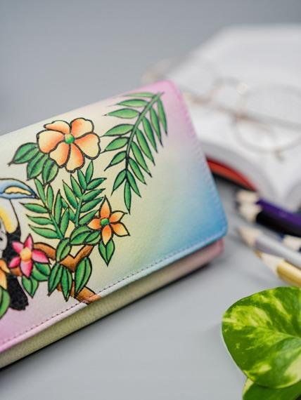 Portfel damski różowy ręcznie malowany Maledives M-N22-ART-04_4406 PINK