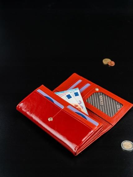 Portfel damski skórzany RFID Rovicky czerwony