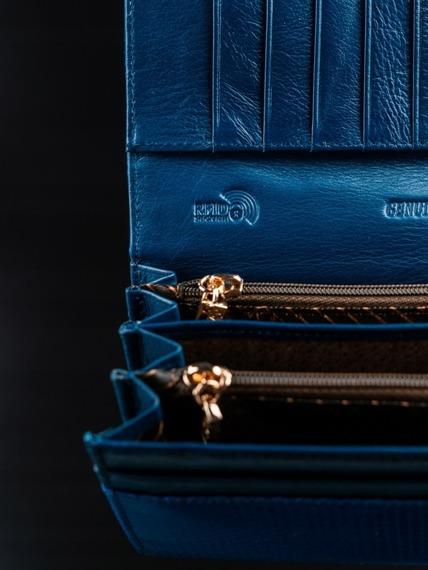 Portfel damski skórzany RFID Rovicky niebieski