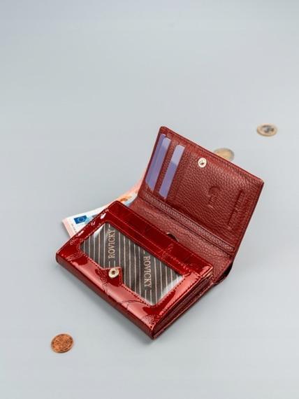 Portfel damski skórzany RFID czerwony Rovicky
