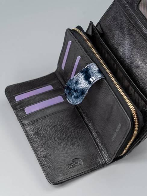 Portfel damski skórzany lakierowany czarny RFID Rovicky