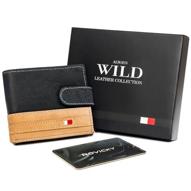 Portfel męski czarno-beżowy Always Wild N1662L-R-RFID BL+TAN