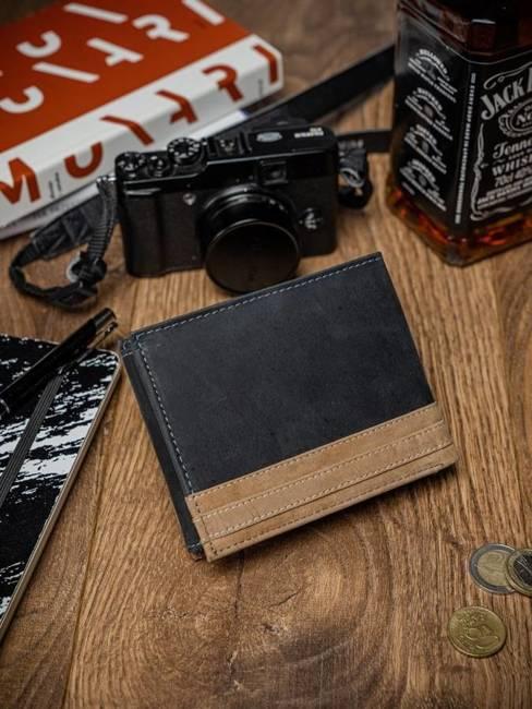 Portfel męski czarno-beżowy Always Wild N992-R-RFID-9388 BLA
