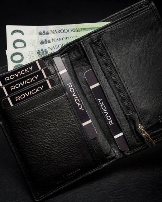 Portfel męski czarny Rovicky  N74-PZ-CCR-RFID-BLAC