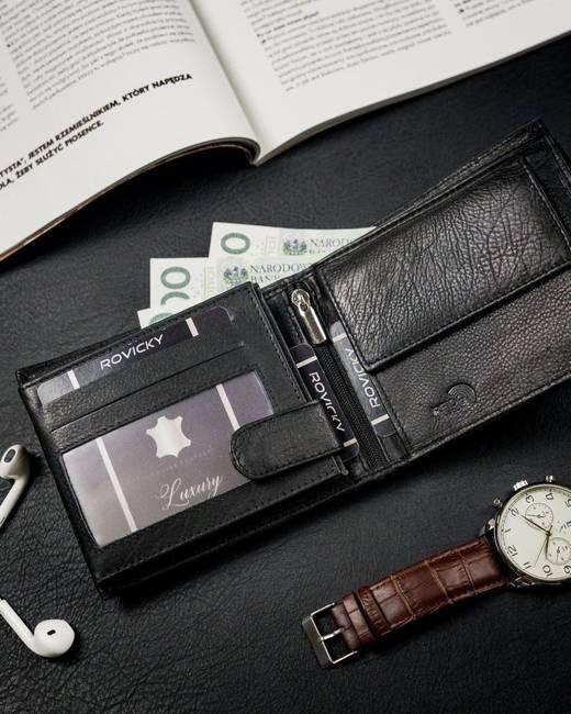 Portfel męski czarny Rovicky N992-PZ-CCR-RFID-BLA