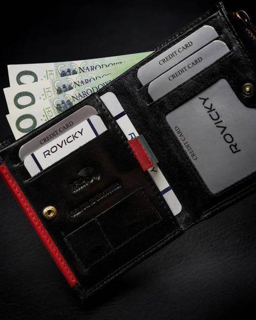 Portfel męski czarny z czerwoną wstawką Rovicky 1006-03-BOR-1102 BLA