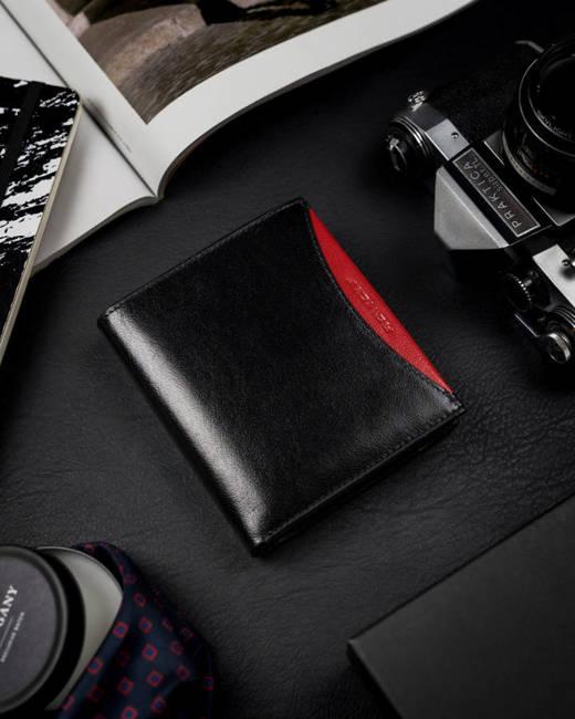 Portfel męski czarny z czerwoną wstawką Rovicky 1552-03-BOR-1348 BLA