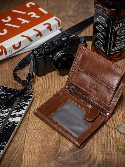 Portfel męski skórzany RFID Pierre Andreus N4-VT-NL brąz