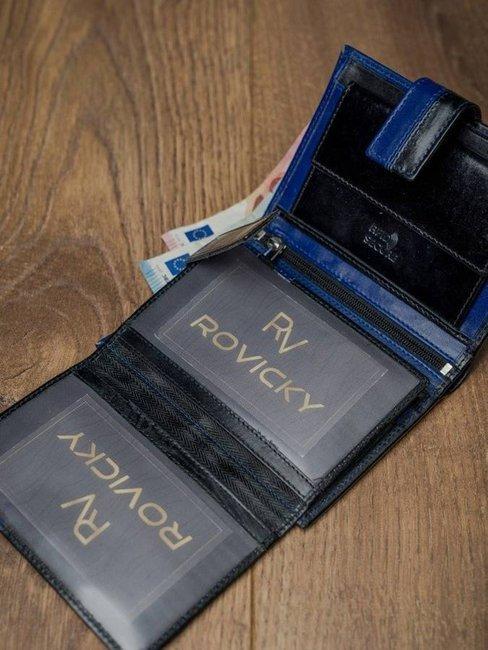 Portfel męski skórzany RFID Rovicky D104L-VT2 czarno-niebieski