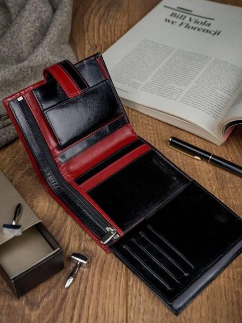 Portfel męski skórzany RFID Rovicky D1072L-VT2 czarno-czerwony