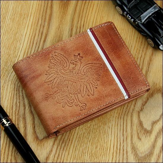Portfel męski skórzany patriotyczny N992B-HP brązowy