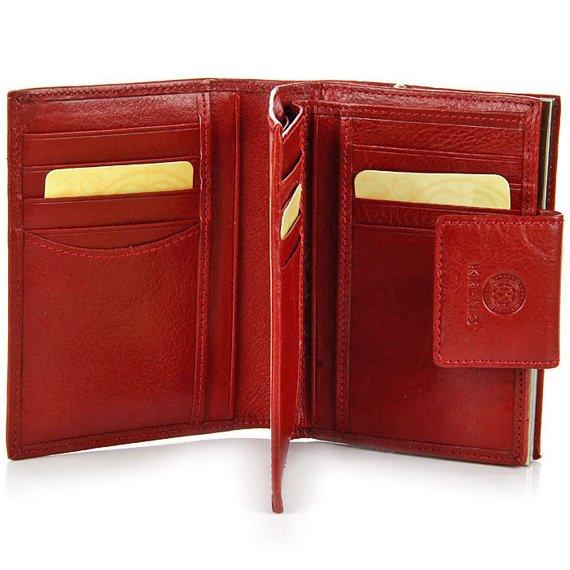 Portfel skórzany damski KRENIG Classic 12013 czerwony w pudełku