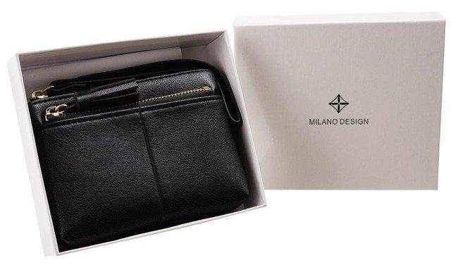 Portmonetka damska czarna Milano Design SF1863-KLP BLACK