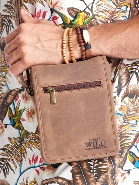 Saszetka skórzana na ramię Always Wild 504 c.brąz