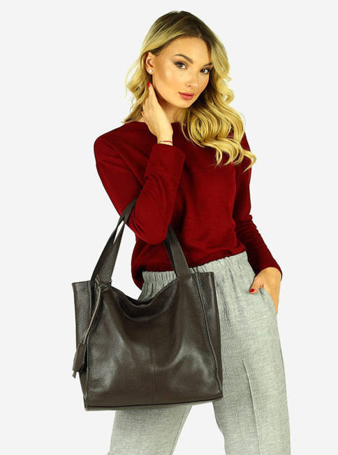 Shopper bag MARCO MAZZINI c. brązowy s139L