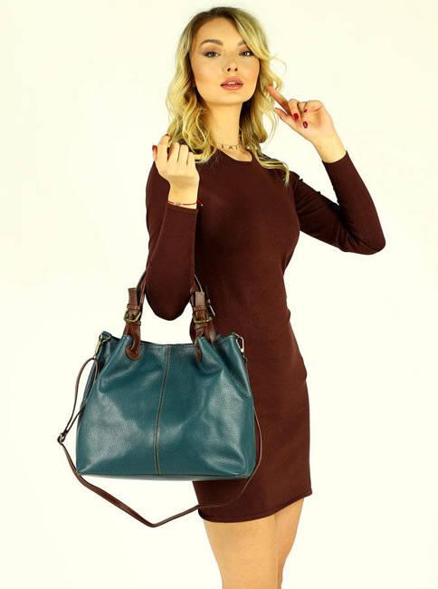 Shopper  bag MARCO MAZZINI morski zielony s268c