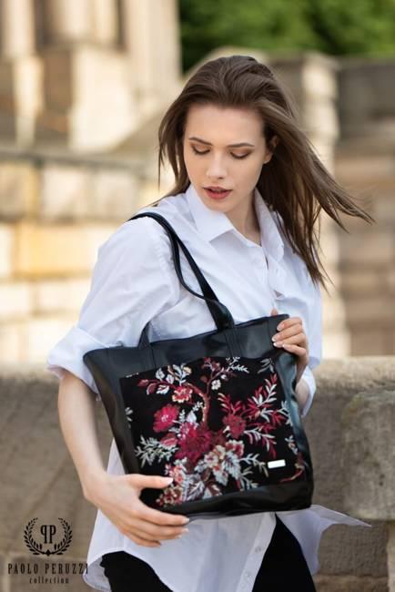 Shopper bag czarny w kwiaty PAOLO PERUZZI Z-21-S