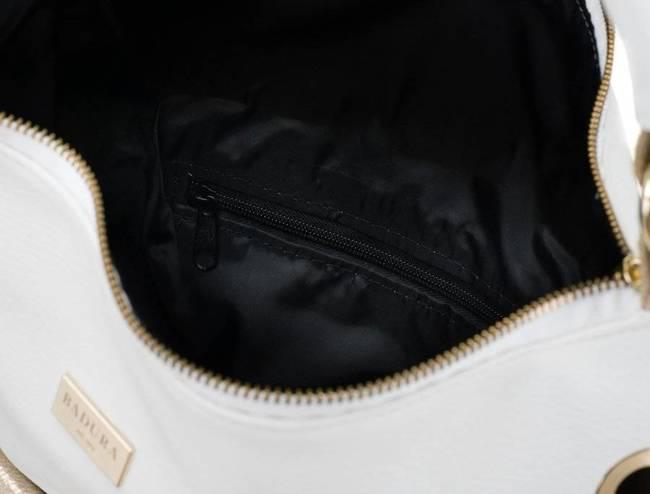 Shopper damski biało-złoty z nitami Badura  T_D152BI/ZŁ_CD