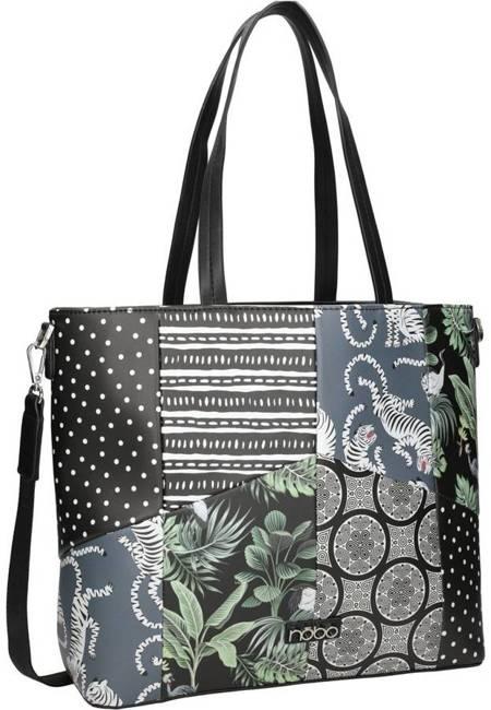 Shopper damski czarny print Nobo NBAG-K3970-CM20