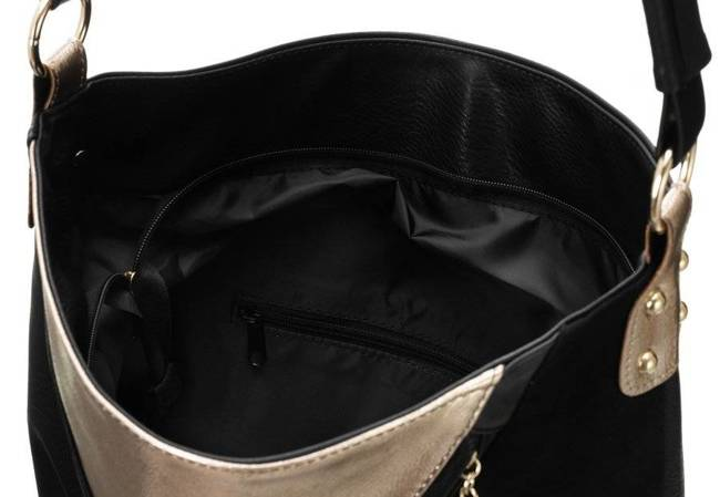 Shopperka czarna ze złotą wstawką Badura T_D177CZ_CD