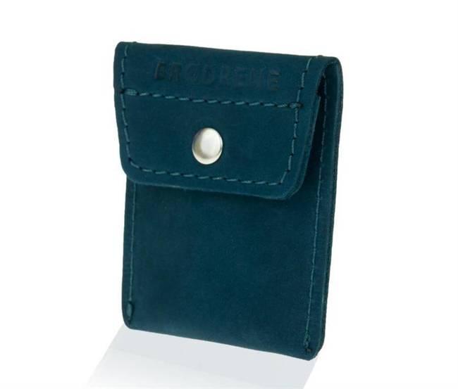 Skórzana bilonówka coin wallet BRODRENE CW02 granatowa