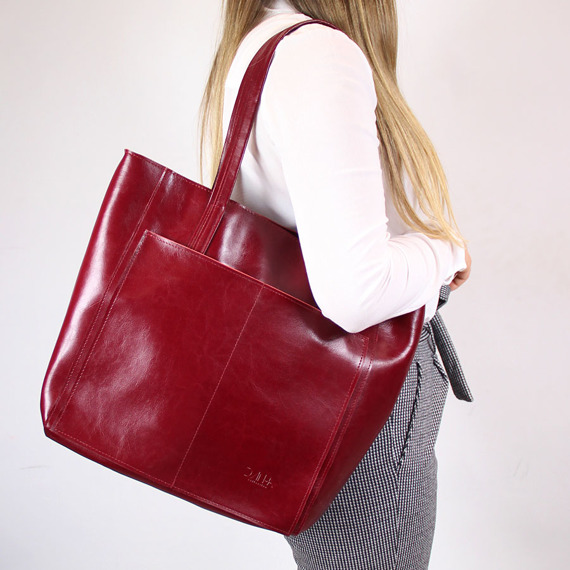 Skórzana bordowa torebka DAN-A T395