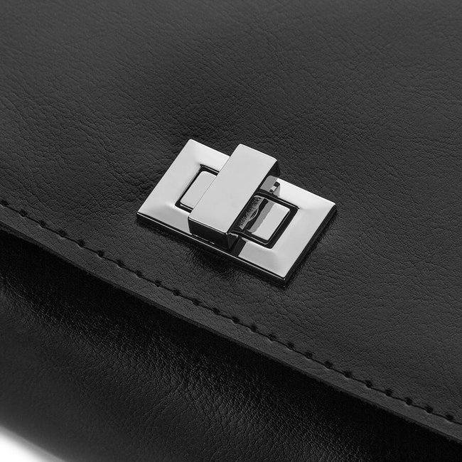 Skórzana listonoszka elegancka czarna PAOLO PERUZZI GA305