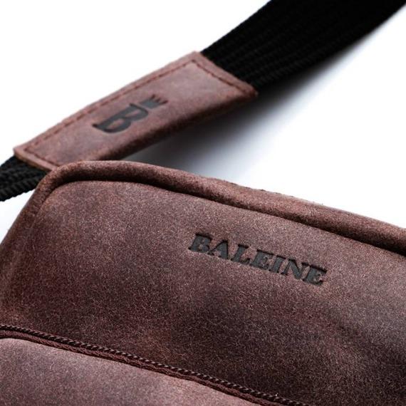 Skórzana saszetka męska na ramię BALEINE S10 ciemnobrązowa
